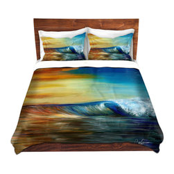 DiaNoche Designs - Duvet Cover Twill by Corina Bakke - Maui Wave II - Lightweight and soft brushed twill Duvet Cover sizes Twin, Queen, King.  SHAMS NOT INCLUDED.  This duvet is designed to wash upon arrival for maximum softness.   Each duvet starts by looming the fabric and cutting to the size ordered.  The Image is printed and your Duvet Cover is meticulously sewn together with ties in each corner and a concealed zip closure.  All in the USA!!  Poly top with a Cotton Poly underside.  Dye Sublimation printing permanently adheres the ink to the material for long life and durability. Printed top, cream colored bottom, Machine Washable, Product may vary slightly from image.