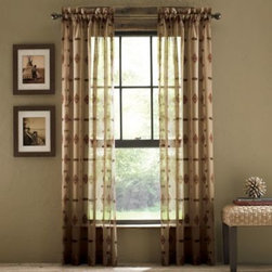 Croscill - Croscill Chimayo Sheer Rod Pocket Window Curtain Panels - Bring a touch of southwest sophistication to any room with these attractive, sheer window curtain panels. The panels gently allow light to flow into your room and feature a colorful, detailed Aztec motif.