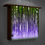 Lighted wall decor- color changing lights - Add ambiance to any room with this illuminated bamboo art wall decor with ledge on top