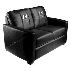 Dreamseat Inc. - Kyle Busch #18 NASCAR Xcalibur Leather Loveseat - Check out this incredible Loveseat. It's the ultimate in modern styled home leather furniture, and it's one of the coolest things we've ever seen. This is unbelievably comfortable - once you're in it, you won't want to get up. Features a zip-in-zip-out logo panel embroidered with 70,000 stitches. Converts from a solid color to custom-logo furniture in seconds - perfect for a shared or multi-purpose room. Root for several teams? Simply swap the panels out when the seasons change. This is a true statement piece that is perfect for your Man Cave, Game Room, basement or garage.