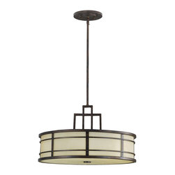 """Murray Feiss - Murray Feiss Fusion Transitional Drum Pendant Light X-ZBG3/1802F - The Murray Feiss Fusion Transitional Pendant Light provides an Eastern essence to traditional drum shade pendants! An Amber Ribbed Glass shade coalesces with a Grecian Bronze finish, creating a geometric pattern that recalls Frank Lloyd Wright's designs, as well as patterns traditionally seen in Asian art. The lighting fixture includes (4) 12"""" stems, (1) 6"""" stem and glass diffuser."""