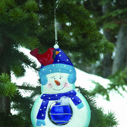 Toland Home and Garden - Solar Hanging Snowman - Solar Hanging Snowman. Beautify your Garden, Save energy and go Solar! Beautiful outdoor Solar Garden Lights for your yard, garden, walkways and potted plants provide a beautiful ambiance to your outdoor living areas without all the cables and wires. Duri