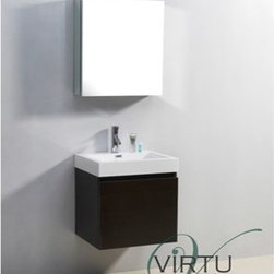 "Virtu USA - Virtu USA 24"" Zuri Single Sink Bathroom Vanity with Polymarble Countertop - Weng - This ultra-modern vanity is the perfect addition to any bathroom upgrade. Featuring a magnificent finish and a high gloss polymarble basin for an easy clean, you can't go wrong with this vanity. Featuring two drawers on Bellucci soft closing sides, this vanity has not only design, but practicality as well. Virtu USA has taken the initiative by changing the vanity industry and adding soft closing doors and drawers to their entire product line. By doing so, it will give their customers benefits ranging from safety, health, and the vanity's reliability.FeaturesMain cabinet: 22.4"" W x 18.1"" D x 23.4"" HMirror/Medicine cabinet: 22.6"" W x 6.7"" D x 18.1"" HMaintenance-free high gloss polymarble countertop with integrated basinWenge finishWater resistant low V.O.C sealerPlywood and Composite with MelamineAdjustable slidesMain cabinet: 1 Revealed drawer with BELLUCCI' soft closing slidesMain cabinet: 1 Concealed drawer with BELLUCCI' soft closing slidesMirror/Medicine cabinet: 1 Door with BLUM' soft closing hingesPre-drilled single hole faucet mountMinimal assembly requiredPS-103 Faucet with Pop Up and Drain Assemblies Included CUPC, UPC and IAPMO Certified Faucet with Limited Lifetime Warranty Lead-Free Faucet Compliant with AB1953 and S152 Eco-Friendly WaterSense Certified 1.5 GPM flow rateHow to handle your counterView Spec Sheet"