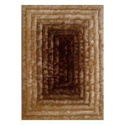 Rug - ~5 ft. x 7 ft. 3-D Gold Brown Living Room Shaggy Hand-tufted Area Rug - \3D SHAG COLLECTION