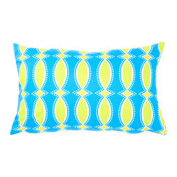 Anna's Fabulous Things - Blue & Green Trellis Rectangular Pillow - Instantly perk up your favorite couch with the poised print of this throw pillow. �� 18'' W x 12'' H Cover: cotton / linen Fill: polyester Spot clean Made in the USA