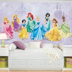Roommates Decor - Disney Princess Royal Debut SureStrip Prepasted Mural - Make a royal debut with your favorite Disney Princess characters! You can delight your own little princess with this chair rail size Disney Princess wallpaper mural. It goes up easily in seven panels, and the SureStrip material comes off easily when your little one grows and wants a change. A perfect piece of room decor for a little princess!