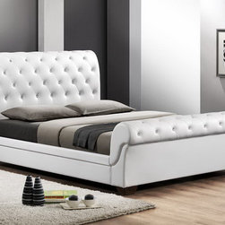 Baxton Studio - Baxton Studio Leighlin White Modern Sleigh Bed with Upholstered Headboard - Traditional button-tufting and a timeless sleigh bed design are updated and modernized, resulting in this sleek, contemporary bed. The full size Leighlin Designer Sleigh Bed is made in Malaysia with buttery smooth matte white faux leather with underlying foam padding. An engineered wood frame is supported by dark brown wood legs and includes wooden slats: the Leighlin is a platform bed and does not require a box spring. Maintenance is simple: just wipe the bed's surfaces with a damp cloth before wiping dry. The Leighlin Bed is also available in black as well as both black and white in queen size (each sold separately). Assembly is required.