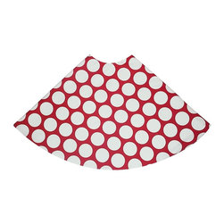 "5 Surry Lane - Large Red Polka Dot Holiday Tree Skirt - Designer Holiday Tree Skirt.  54"" Round.  Fully lined."