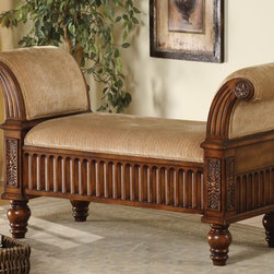 Coaster - Tan Transitional Bench - This bench was created to surround you in extra comfort. Its detailed carvings and motifs deliver a class style to any room.