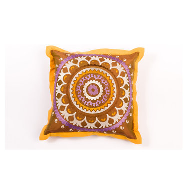 "Pillows - Add flair with beautiful suzani pattern pillow,the coordinating flange adds charm to the 20""x20"" size."