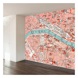 WallsNeedLove - Parisian Map Wall Mural Decal - They say home is where the heart is...we say home is where you put a giant mural on your wall to mark where you heart is...Paris!