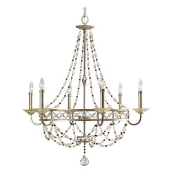 Thomasville Lighting - Thomasville Lighting Chanelle Chandelier with Matching Hand Painted Candle Sleev - Thomasville Lighting Chanelle Chandelier with Matching Hand Painted Candle Sleeves, Antique Silver X-43-3444P