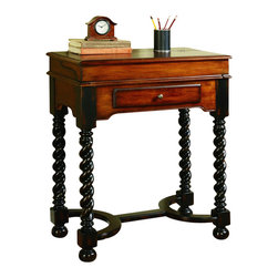"Hooker Furniture - Jacobean Twist Leg Flip Top Writing Desk - White glove, in-home delivery included!  This handsome traditional flip-top writing desk is featured on a smaller scale with lots of design including jacobean twist legs with a rich black finish.  The wood and leather top flips to reveal a brown leather writing surface with gold tooling and pigeon holes.  It has one drawer.   Distance from floor to bottom of drop down: 29 5/8"" h  Drawer - Inside: 14"" w x 11 1/2"" d x 1 7/16"" h"