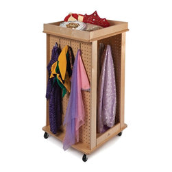 Whitney Bros - Whitney Brothers Revolving Dress Up Center - WB1038 - Shop for Pretend Play Toys from Hayneedle.com! Costumes and accessories are always at the ready with the Whitney Brothers Revolving Dress Up Center. Three sides of this handy dress-up center feature pegboards and hangers and there are more hangers inside. A framed base below is great for shoes and its twin on top is perfect for hats and little extras. Smooth-gliding casters make it easy to move. This dress-up center is built of birch laminate with a natural UV coating and lifetime manufacturer's warranty.About Whitney BrothersSince 1904 Whitney Brothers has been using classic cabinetmaking techniques to produce safe and sturdy educational toys. Now they're also a leader in developing versatile innovative furniture and storage systems for schools daycare centers and private homes. When they design and manufacture their educational toys and furniture Whitney Brothers uses the finest hardwoods and veneers and traditional joinery methods for extra strength. Edges and corners are always rounded smoothly and finished by hand. All of their glues paints and finishes are nontoxic and easy to clean.