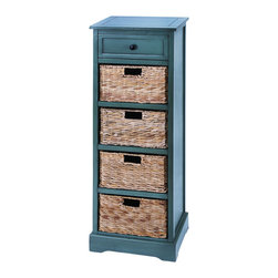 Benzara - Woodcraft Style Cabinet With 4 Vertical Wicker Baskets - This cabinet is made with solid wood pieces polished and treated in a French countryside blue color. Included are 4 levels of baskets that slide in and out like attractive wicker drawers. And with such a beautiful look, you can enjoy this cabinet virtually anywhere. Use it perfectly in the master bedroom or the spare guest room.