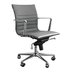 Eurostyle - Eurostyle Kyler Low Back Office Chair-Gray/Chrome - Eurostyle - Office Chairs - 00681GRY - Kyler Low Back Office Chair is a versatile and comfort designed office chair which has leather upholstered seat and back. This low back office chair has chromed aluminum frame and base with tilt mechanism.