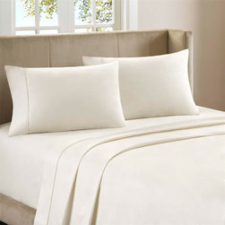 """Premier Comfort - Premier Comfort Supreme Luxury 800TC Sheet Set - Premier Comfort presents the Supreme Luxury sheet set, which is just that, truly luxurious. Lounge around in this 800tc sheet set, made from 100% cotton sateen for an incredibly soft feel. Flat and fitted sheet as well as pillowcases have a filled piping on the hemming for extra detailing while fitted sheet has a 15"""" pocket size and fits mattresses up to 17"""". This luxurious sheet set come in three beautiful colors of ivory, blue, and mocha. 800TC cotton sateen sheet set"""