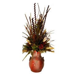 Large Floral Arrangement in Rustic Vase - Large Floral Arrangement In Rustic Ceramic Vase