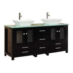 "Design Elements LLC - Arlington 61"" Double Sink Vanity Set in Espresso - Constructed of solid hardwood, the white porcelain vessel sinks and tempered glass countertop of the of the 61"" Arlington, beautifully contrast the rich espresso cabinet to bring a crisp, contemporary look to any bathroom. This stylish design includes two soft-closing double-door cabinets and four drawers. A matching, detached espresso cabinet with three drawers is provided for additional storage. Included with this set are two matching espresso mirrors. The Arlington Bathroom Vanity is designed as a centerpiece to awe and inspire the eye without sacrificing quality, functionality, or durability."