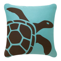 Sea Turtle Eco Pillow, Chocolate/Aqua, Without Insert