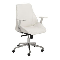 Euro Style - Bergen Low Back Office Chair - Leatherette seat and back over foam. Laminated wood frame. Synchronous mechanism with four locking positions. Chromed aluminum base. PU casters with stainless steel hood. BIFMA approved. 24.5 in. L x 26.75 in. W x 41.5 in. H