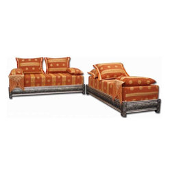 Orange Mekissa Bench Set - The deep tangerine Mekissa sofa is ornamented with patterned fabric and finished with wooden silver and carved Moorish artwork. It's a luxe patio topper for warm summer nights around the fire pit.