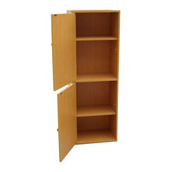 None - 4-Tier Adjustable Bookshelf with Door - This 4-tier bookcase will not only help you organize your books and magazine but will also increase storage space for you. This uniquely designed scratch-resistant surface and the laminate finishing coat make this item quite easily to clean.
