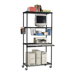 "OFM - Computer LAN Station - This 18"" x 36"" shelving unit is perfect for your computer server room, but also excellent for hotels, warehouses, restaurants, offices, institutions, and homes as well. Its excellent 300 lbs capacity per shelf is more than enough for most. The shelves adjust in 1"" increments and this LAN station also includes a side basket, undershelf basket, adjustable glides, 3"" casters, and a keyboard tray. Features: -Available in black or silver -Scratch-resistant powder-coated paint finish -All shelves adjust in 1 inch increments -Includes all mounting hardware -36"" keyboard tray, side basket, and paper basket and all included -Includes adjustable leveling glides and 3"" casters (Casters add 4"" to height) -Weight capacity 300 lbs per shelf -Designed and built for commercial use -Overall dimensions: 72"" H X 36"" W X 18"" D"
