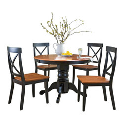 Home Styles - Home Styles 5 Piece Round Pedestal Dining Table Set in Black and Cottage Oak Fin - Home Styles - Dining Sets - 5168318 - The Home Styles Five Piece Dining Table Set is constructed of solid hardwood in black and cottage oak finish. This dining set includes one dining table and four side chairs. The dining table features a round shaped wood top a pedestal base and is suitable for four. The side chairs feature an X backrest design and straight tapered legs. With a two-tone finish and transitional design elements the Home Styles Five Piece Dining Table Set is sure to garner praise from all who see it.