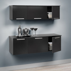 Prepac Coal Harbor Wall Mounted Buffet and Hutch in Black - The Coal Harbor Wall Mounted Buffet and Hutch in Black are designed for use in a wide range of applications. The clean, unadorned appearance creates a feeling of simplicity and calmness. Doors have hidden, self-closing hinges and handles are solid metal with a brushed nickel finish. Constructed from high quality, laminated composite woods and an MDF backer.  Assembly required.