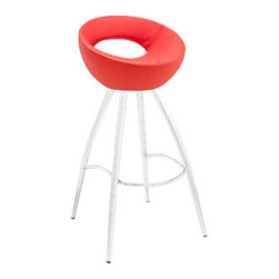 """LexMod - Persist Bar Stool in Red - Persist Bar Stool in Red - Patterns of discovery begin anew with the continuous design of the Persist modern bar stool. While your rendezvous with friends may seem to end, the freshly pressed memories are everlasting. For a design that has no end or beginning, Persist has a way of keeping every experience fresh and exciting. Made of chrome-plated stainless steel, and a tubular padded vinyl seat, live every moment as an essential part of every other. Set Includes: One - Persist Bar Stool Fits most bars and countertops, Easy wipe clean surface, Chrome plated steel frame, Tubular vinyl molded foam seat Pad , Non-marking feet, Assembly required Overall Product Dimensions: 16""""L x 17""""W x 34""""H Footrest Height: 10.5""""HBACKrest height: 7.5""""H Seat Height: 28""""H - Mid Century Modern Furniture."""