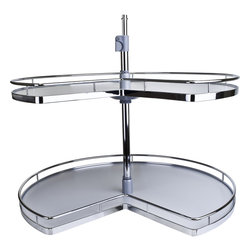 "Hardware Resources - 28 inch Kidney Premium Metal & Wood Lazy Susan Set. - 28 inch Metal chrome plated edging and wooden shelving. Independently rotating shelves. Sold by the set ((includes 2 shelves  mounting pole  assembly hardware  and instructions). Telescoping pole for 2 shelf systems adjusts to accommodate 24""   35.5"" interior cabinet heights."