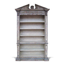 Koenig Collection - Old World French Bookcase Venetian, Grey Distressed - Venetian Bookcase, Grey Distressed W/ Maroon Undertones, Soft Yellow tones and Bone Scrolls