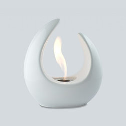 "Ignis - Mika White Tabletop Ventless Ethanol Fireplace - Snuggle up and relax, even in small spaces and compact rooms, thanks to the heat from this Mika White Ceramic Tabletop Ventless Ethanol Fireplace. Its beautiful design makes it look more like a beautiful table sculpture than the functional item it really is. This unit holds 2.4 ounces of fuel and will burn for around an hour with each refill, making it perfect for sitting on the table top during dinner inside the home or out under the stars. This tabletop unit can be used wherever you like, and since its ventless, you can move it from one room to the next without any special precautions. Dimensions: 10"" x 9"" x 5.5"". Features: Tabletop, Freestanding - can be placed anywhere in your home (indoors & outdoors). Ventless - no chimney, no gas or electric lines required. Easy or no maintenance required. Capacity: 70ml (2.4oz). Approximate burn time - 1 hour per refill."