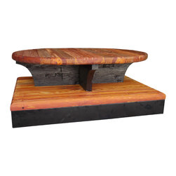 """Rolling Coffee Table - The Rolling Coffee Table: The table's top, mid-section, and bottom is made of 2"""" thick reclaimed Heart Pine. The base is made of metal. It has heavy-duty casters that roll smooth & are lockable. The """"foot print"""" covers 37""""x 49""""."""