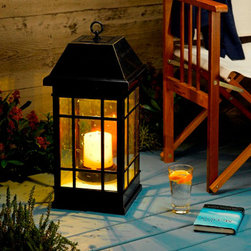 STI - Smart Solar Inc. - San Rafael Estate Solar Mission Lantern - Ambient lighting ideal for your patio, deck or garden. Elegant mission style lantern made from all weather poly with real seeded glass. Sits on any surface, or can be hung using the integrated hanging loop.