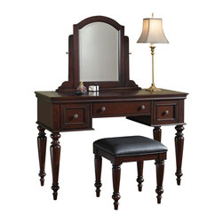 Home Styles - Home Styles Lafayette Vanity Table and Mirror - Home Styles - Bedroom Vanities - 553772 - Traditional design characteristics such as a multi - step Cherry finish Antiqued Brass hardware spindle legs a profile - edged top and curved accents in both the mirror and it's attachment complete the Lafayette Collection. The Vanity Table can be used with the included mirror or without as a larger sized student desk and is constructed of mahogany solids and cherry veneers with a beveled glass tilt mirror; two removable felt - lined drawers boxes for rings and jewelry in the outer 2 drawers ; and a center storage drawer. The Lafayette Vanity Table Bench is constructed of mahogany solids with a Black vinyl cushioned seat and spindle legs. Two piece set includes the vanity table and bench.