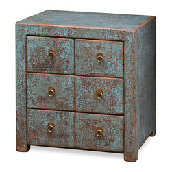 "China Furniture and Arts - Elmwood Chest of Drawers - This handsome cabinet is ideal as a night stand or lamp table. The distressed light blue finish adds an antique character. Six small drawers with interior measurements of  7""W x 12.5""D x 4""H are ideal for storing small items. The brass rings on the face of each drawer make a simple yet effective drawer pull. The entire piece is hand crafted of Elmwood. Comes fully assembled."