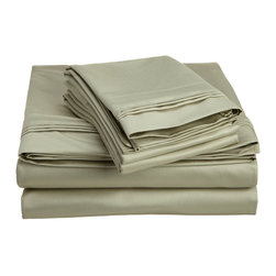 1500 Thread Count Egyptian Cotton Queen Sage Solid Sheet Set - 1500 Thread Count oversized Queen Sage Solid Sheet Set 100% Egyptian Cotton
