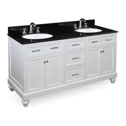 Kitchen Bath Collection - Amelia 60-in Double Sink Bath Vanity (Black/White) - This bathroom vanity set by Kitchen Bath Collection includes a white cabinet, soft close drawers, self-closing door hinges, black granite countertop with stunning beveled edges, double undermount ceramic sinks, pop-up drains, and P-traps. Order now and we will include the pictured three-hole faucets and a matching backsplash as a free gift! All vanities come fully assembled by the manufacturer, with countertop & sink pre-installed.