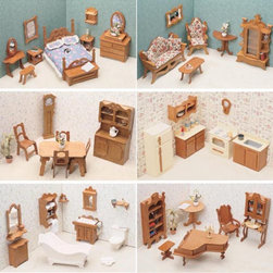 Greenleaf - Greenleaf 6 Room Furniture Kit Set-1 Inch Scale - 7207 - Shop for Dollhouses and Dollhouse Furnishings from Hayneedle.com! Create a sophisticated lounging arrangement with the Greenleaf Library Furniture Kit Set - 1 Inch Scale. With such classic elements as a grand piano with matching bench tall decorative bookcase and elaborate writing desk it transforms an additional room in your dollhouse to a stately library or sitting area. A charming round table and cozy desk chair complete the look for an elegant space perfectly befitting any collector dollhouse. This furniture set comes unassembled and without stain. All furniture pieces are 1-inch scale. Furniture Set Includes: Dining room furniture kit Living room furniture kit Bathroom furniture kit Kitchen furniture kit Library furniture kit About GreenleafEstablished in 1947 Greenleaf Steel Rule Die Corp is a leading manufacturer of all-wood dollhouse kits furnishings and accessories. Located in Schenevus N.Y. Greenleaf is acknowledged by many in the miniatures industry for its outstanding design and superior quality. Greenleaf wooden dollhouse kits are an ideal project for collectors or families who want to create lasting keepsakes.