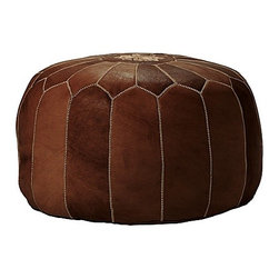 Serena & Lily - Tan Moroccan Leather Pouf - Poufs are definitely having a moment. This leather version from Serena and Lily is handmade in Morocco and well worth the investment.