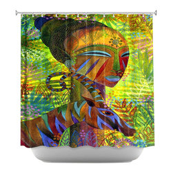 DiaNoche Designs - Shower Curtain Artistic - African Queens - DiaNoche Designs works with artists from around the world to bring unique, artistic products to decorate all aspects of your home.  Our designer Shower Curtains will be the talk of every guest to visit your bathroom!  Our Shower Curtains have Sewn reinforced holes for curtain rings, Shower Curtain Rings Not Included.  Dye Sublimation printing adheres the ink to the material for long life and durability. Machine Wash upon arrival for maximum softness. Made in USA.  Shower Curtain Rings Not Included.
