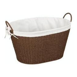 """Household Essentials - Paper Rope Laundry Basket With Liner & Handles - Ferry your laundry from room to room comfortably in this single-load basket.  Hand-woven and finished with a protective coating this baskets sturdy frame and winsome beauty make laundry day a little less of a chore.  The washable liner anchored securely around the handles protects delicate fabrics from catching and snags.  Laundry must be done so bring a bit of old fashioned charm to the task with this revitalized wicker basket.Hand-woven Paper Rope Laundry Basket with liner. Sturdy frame and handles. Finished with a rich brown stain.Protectively coated to prevent mold and mildew. Humidity tested.  Dimensions:14.5""""h x 22.25""""w x 15""""dBasket interior:10.5""""h x 19.5""""w x 14""""d"""