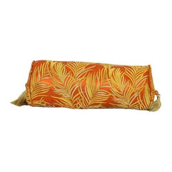 Pre-owned Small Orange Fern Silk Brocade Bolster Pillow - Layering on the perfect throw pillow is the cherry on top for achieving an effortlessly styled effect in your room. This small orange silk brocade bolster pillow features a yellow fern design, piping and a down/feather insert.    We have 2 pillows available. If you would like more than one, please contact support@chairish.com.
