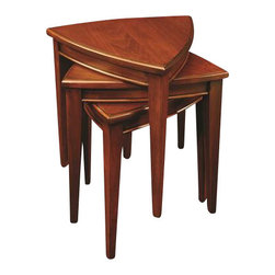 Leick Furniture - Leick Furniture Stacking Table Set in Black and Medium Oak Finish - Leick Furniture - End Tables - 9004SL - This three table set stacks compactly into a small space when stored but quickly arrays to nearly seven square feet of additional serving space when needed. All solid wood construction means they are built to hold up and meant to be used. All three tables can be arranged side by side to function as a compact coffee table or used to hold coasters and servings trays when stacked. The hand applied multi-step two toned slate finish will provide a lasting beauty for many years of use.