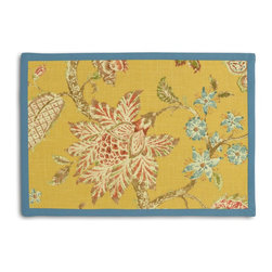 Yellow Delicate Floral Tailored Placemat Set - Class up your table's act with a set of Tailored Placemats finished with a contemporary contrast border. So pretty you'll want to leave them out well beyond dinner time! We love it in this transitional floral in sunny yellow with springy pinks & greens on soft breezy linen.  the perennial favorite floral of loom stylists & clients alike!