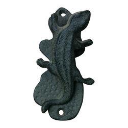 """AJchidph-1119 - Cast Iron Lizard Door Knocker - Cast iron lizard door knocker. Measures 5"""" x 2"""". No assembly required."""