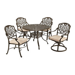 "Lamps Plus - Traditional Floral Blossom Taupe Small 5-Piece Dining Set - 5-piece outdoor dining set. Set includes 42"" table and two swivel chairs and two armchairs. Powder-coated taupe finish. Cast aluminum construction. Two-tone woven natural color polyester cushions. Hand-applied gold speckling sealed with a clear coat for protection. Attractive patterned design. Nylon glides on legs offer stability. Stainless steel hardware finish. Assembly required. 2"" umbrella hole in table with black cap. Table is 42"" wide 42"" deep 29"" high. Chairs are 25"" wide 26 3/4"" deep 36 1/2"" high.   5-piece outdoor dining set.  Set includes 42"" table and two swivel chairs and two armchairs.  Powder-coated taupe finish.  Cast aluminum construction.  Two-tone woven natural color polyester cushions.  Hand-applied gold speckling sealed with a clear coat for protection.  Attractive patterned design.  Nylon glides on legs offer stability.  Stainless steel hardware finish.  Assembly required.  2"" umbrella hole in table with black cap.   Table is 42"" wide 42"" deep 29"" high.   Chairs are 25"" wide 26 3/4"" deep 36 1/2"" high."