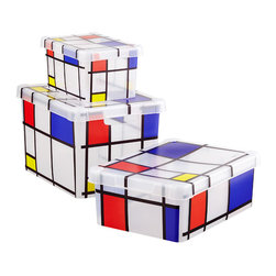 Mondrian Storage Box - Plastic storage boxes are boring. But these patterned containers not only are smart storage, but also make an artistic statement wherever you stack them.